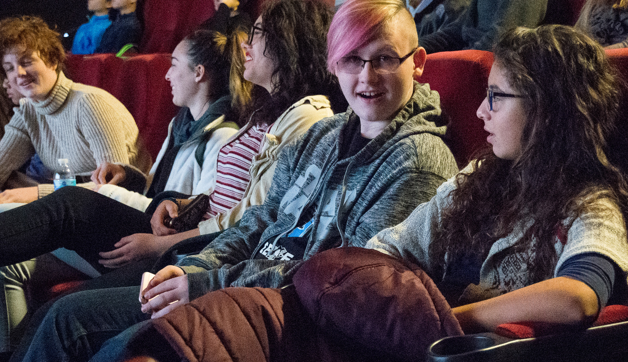 Teen screencarlynton students in cinema